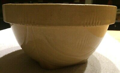 Vintage Antique Yellow Ware Mixing Bowl Art Pottery Stoneware