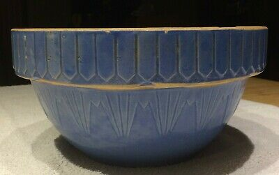 "Antique Blue Yellow Ware Mixing Bowl 10"" Stoneware Art Pottery"