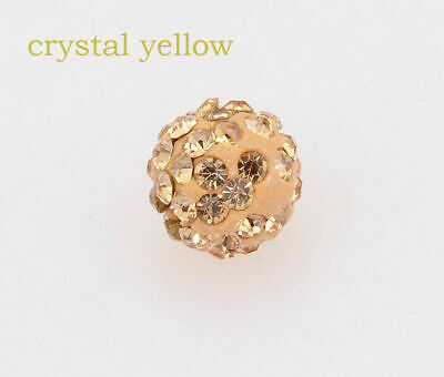 100 Pcs Cz Crystal Shamballa Beads Pave Disco Balls crystal yellow 10MM