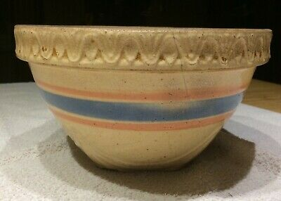Vintage Antique Yellow Ware Mixing Bowl Art Pottery Pink Blue Stripes Stoneware