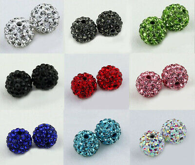 wholesale 90 Pcs Cz Crystal Shamballa Beads Pave Disco Balls mixed 9 color 10MM