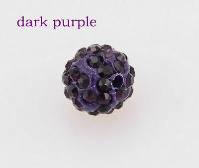 wholesale 100 Pcs Cz Crystal Shamballa Beads Pave Disco Balls dark purple 10MM