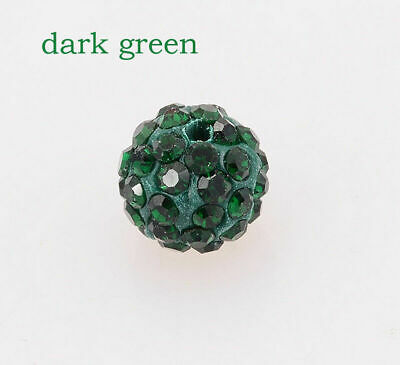 wholesale 100 Pcs Cz Crystal Shamballa Beads Pave Disco Balls dark green 10MM