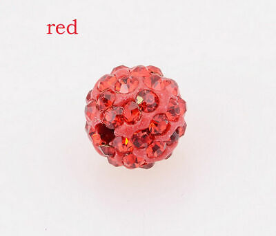 wholesale 100 Pcs Cz Crystal Shamballa Beads Pave Disco Balls red 10MM