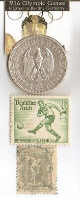 1896-*greek Olympic stamp+*1936-*german Olympic stamp+SILVER  EAGLES(.900%) coin