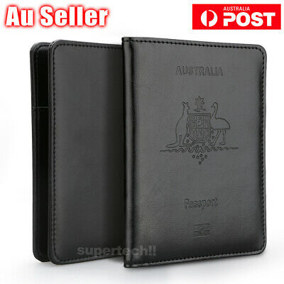 Leather RFID Blocking Passport Card Holder Money Pouch Security Travel Wallet