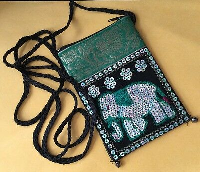 Stunning Tribal Boho Hippy Sequinned Silver Elephant Embroidery Green Purse Bag
