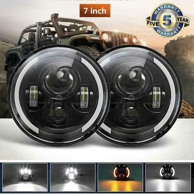 """DOT Approved 7"""" inch Round LED Headlights Halo For Kenworth T2000 T400 T800 W900"""