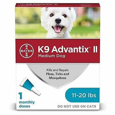 Bayer K9 Advantix II for Medium dogs 11-20 lbs (1 Month) EPA Approved Ships Free