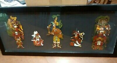 Framed Picture Enameled Figures of Native Chief's  - maybe African or Islanders
