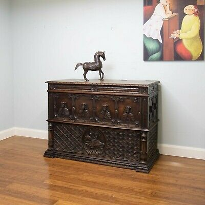 Antique Carved Gothic Revival Sideboard / Chest / Cabinet
