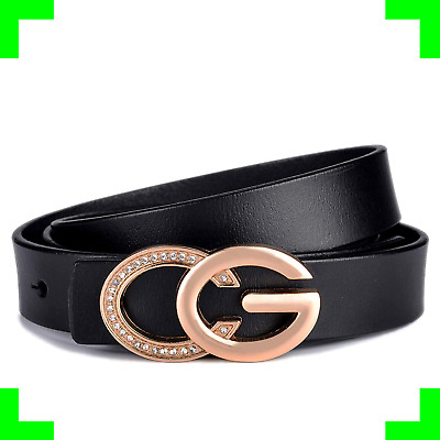 Women Slim Skinny Leather Belt Retro Gold Alloy Buckle Gucci Logo Dress Jeans