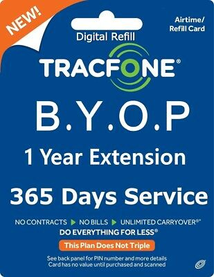 TracFone 1 Year Service Extension Prepaid Refill BYOP Smartphone