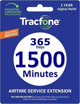 TracFone Smartphone 1 Year Prepaid Refill Card 1500 minutes 365 Days