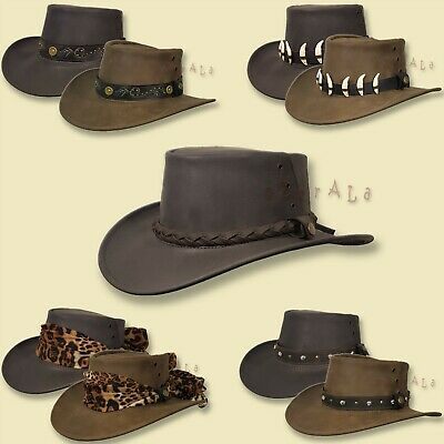 NEW MENS WOMENS Australian Aussie Outback Bush Hat Leather