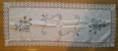 Large Vintage Unworked Semco Table-runner – Cross-stitch -Traced Embroidery