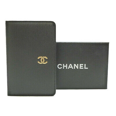 Authentic CHANEL CC Logo Mini Agenda Day Planner Cover Black Leather #S306031