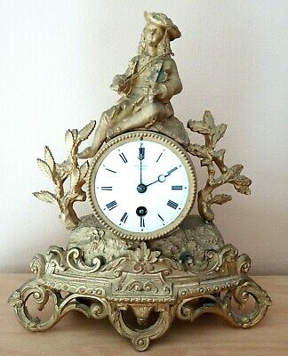 Antique 18th Cent French Gilt Mantel Clock with key