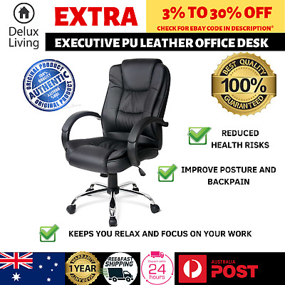 Artiss Executive Premium Leather Office Chair Pu Black Computer Seat Brand New