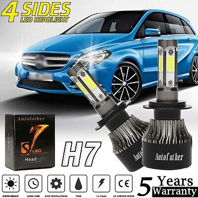 LED H7 HEADLIGHT Bulbs High Low Beam 4 Side Chips For