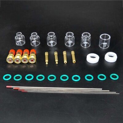 30pcs Welding Stubby Gas Lens Pyrex Cup Consumables For Tig WP-17/18/26 Torch