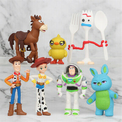Toy Story Buzz Lightyear Woody Bulleye 7 PCS Action Figure Cake Topper Kids Toys