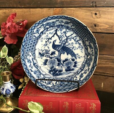 Chinese Blue and White China Bowl, Pheasant on Cherry Branch, Marked Chinoiserie
