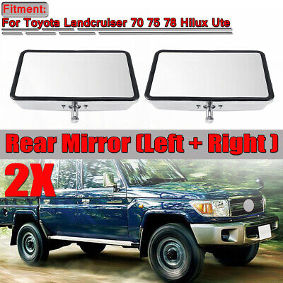 2x Chrome Door Heads Rear View Mirror For Toyota Landcruiser 70 75 78 Hilux Ute