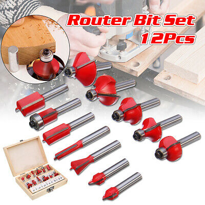 12Pcs Router Bit 1/4'' Shank Tungsten Carbide Tip Router Bits Woodworking Tool