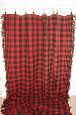 Antique Wool Woven Coverlet Blanket 1800s Red Black Intricate Checkerboard Geome