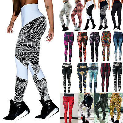 Women High Waist Stretch Yoga Pants Leggings Sports Gym Fitness Running Trousers