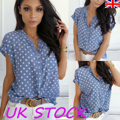 Womens Polka Dot Short Sleeve Buttons Shirts Ladies Spotted T-Shirt Tops Blouse