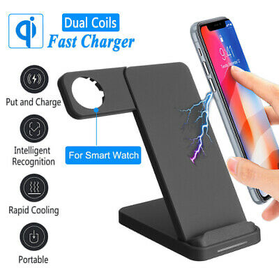 2in1 10W Fast QI Wireless Charger Dock Stand For Cellphone W/ Apple Watch Holder