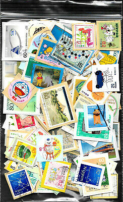 Over 100 Mixed Japanese stamps from Kiloware on paper, includes recent issues.