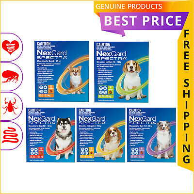 NexGard SPECTRA 6 Doses for Dogs All sizes Flea Tick Heartworm Worm Prevention