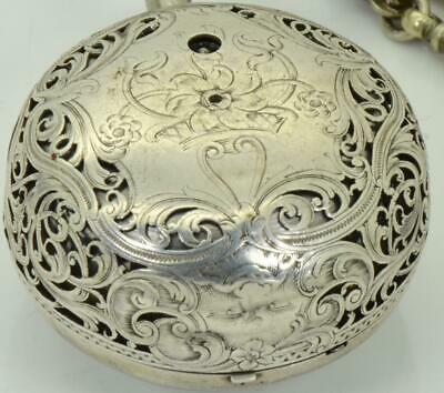 WOW! Antique Georgian silver Repousse case Verge Fusee Repeater watch.J.Rose&Son