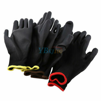 12/24Pairs S M L PU Nylon Safety Coating Work Gloves Builders Grip Palm Protect