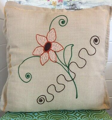 """Lovely vintage hand embroidered cushion retro flower 18"""" VGC"""
