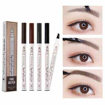 Microblading Tattoo Liquid Eyebrow Pen Liner Waterproof 4 Fork Pencil Brow - UK
