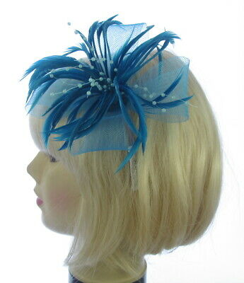 Ladies mesh & Feather blue clip Fascinator Wedding Race Royal Ascot