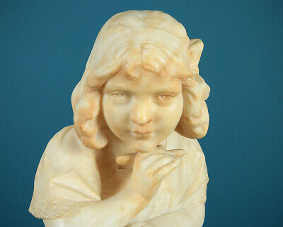 Antique Italian Alabaster Bust of a Girl Writing c.1920.