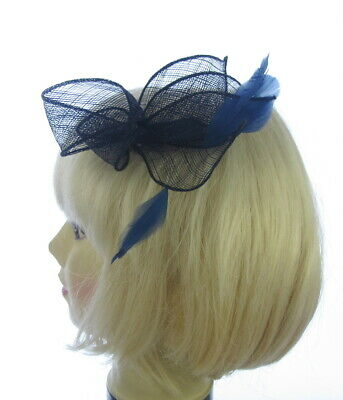 Ladies sinamay navy blue comb Fascinator Wedding Race Royal Ascot