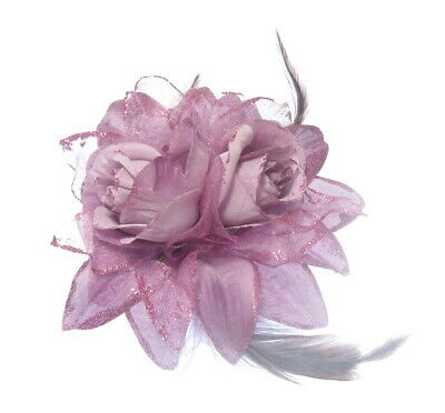 double lilac glitter  flower  elastic and brooch pin , hair or jacket. weddings
