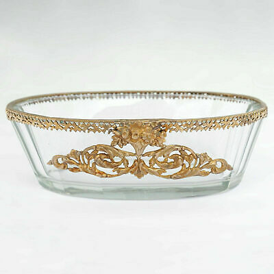 Antique French Cut Glass Trinket Dish, Vanity Pin Tray, Empire Style Gilt Bronze