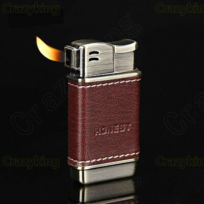 Mini Red Leather Metal Tobacco Smoking Pipe Cigarette lighter  With Gift Box