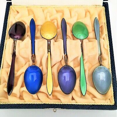 David Andersen Sterling Silver & Guilloche Enamel Demitasse Spoons - Set of 6
