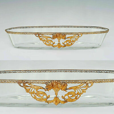 Antique French Cut Glass Oval Pin Tray, Trinket Dish, Empire Style Gilt Ormolu