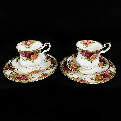Royal Albert Old Country Roses 2 X Trio's - Coffee Cup, Saucer And Side Plate