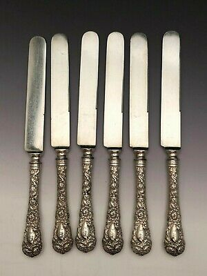 """Chrysanthemum by Durgin Sterling Silver group 6 Lunch Knives 8.5"""", mono S"""