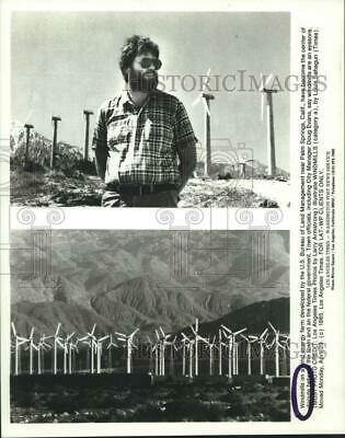 1985 Press Photo Windmills on a Wind Energy Farm Near Palm Springs, California